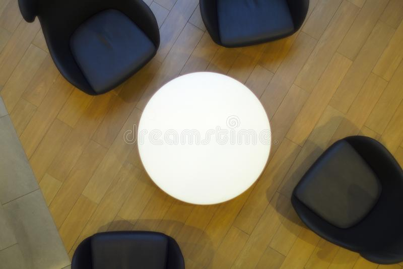 White circle table black chairs top view cafe restaurant modern furniture royalty free stock photo