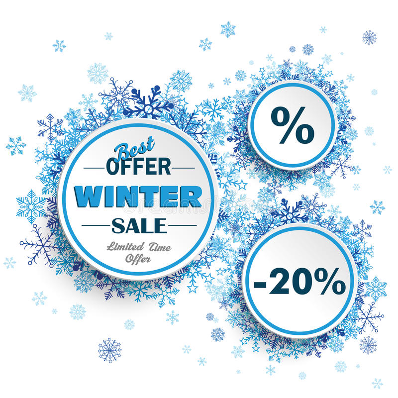 White Circles Winter Sale Blue Snowflakes royalty free illustration