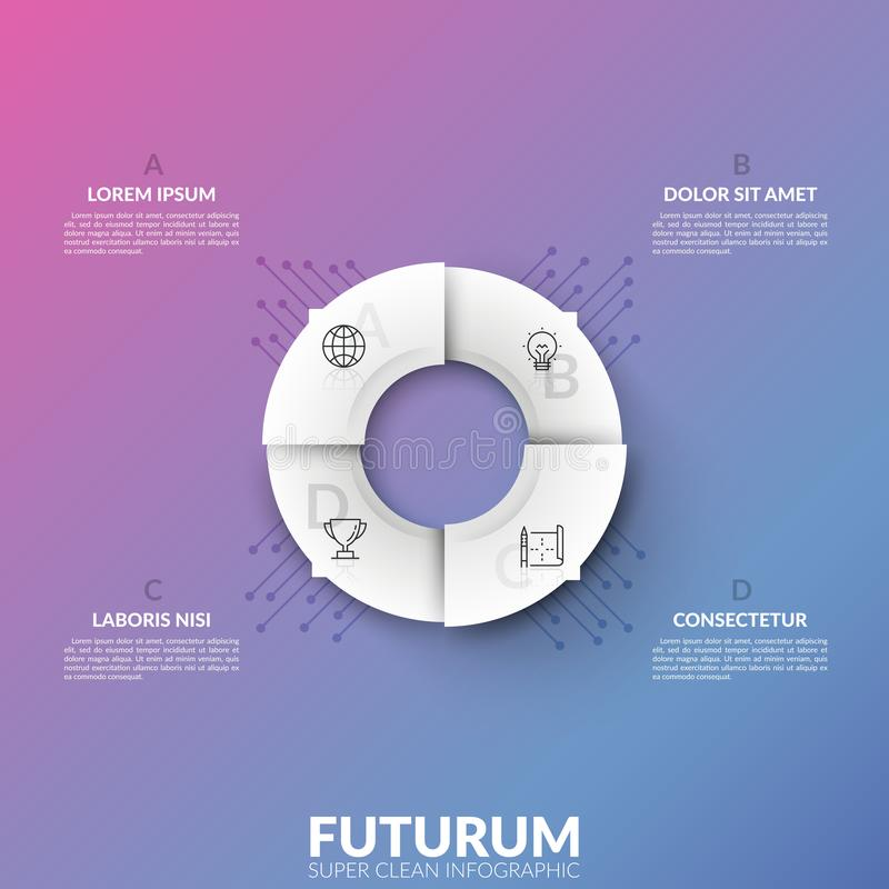 White circular pie chart divided into 4 sectors with thin line pictograms and arrows pointing at lettered text boxes. Concept of pointer. Super clean stock illustration