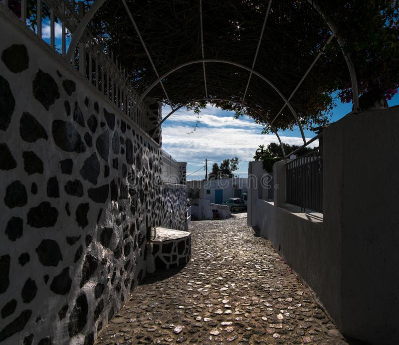 White city of Greece. Santorini. Courtyards and streets of Fira town of Santorini. Greece. Noon in Santorini royalty free stock photo