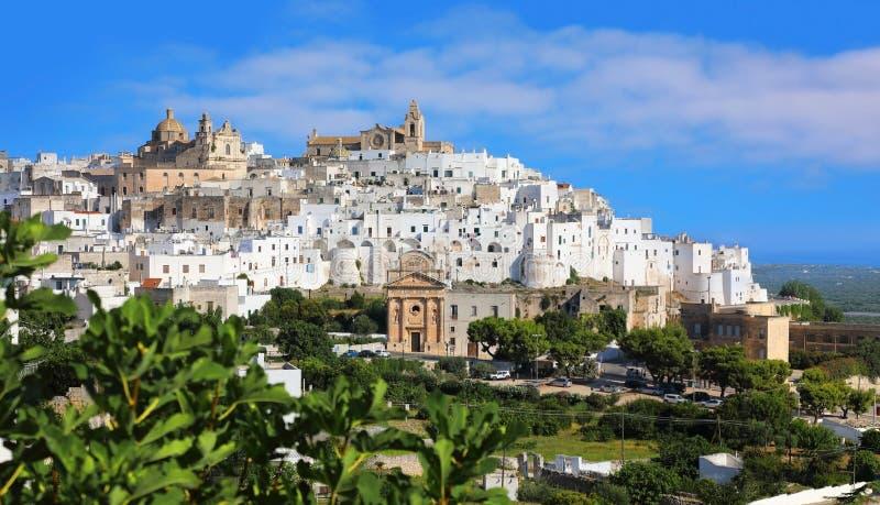 White city of Ostuni in Puglia, Italy stock photography