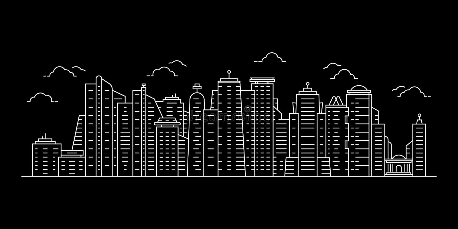 White cityscape with thin line skyscrapers vector illustration