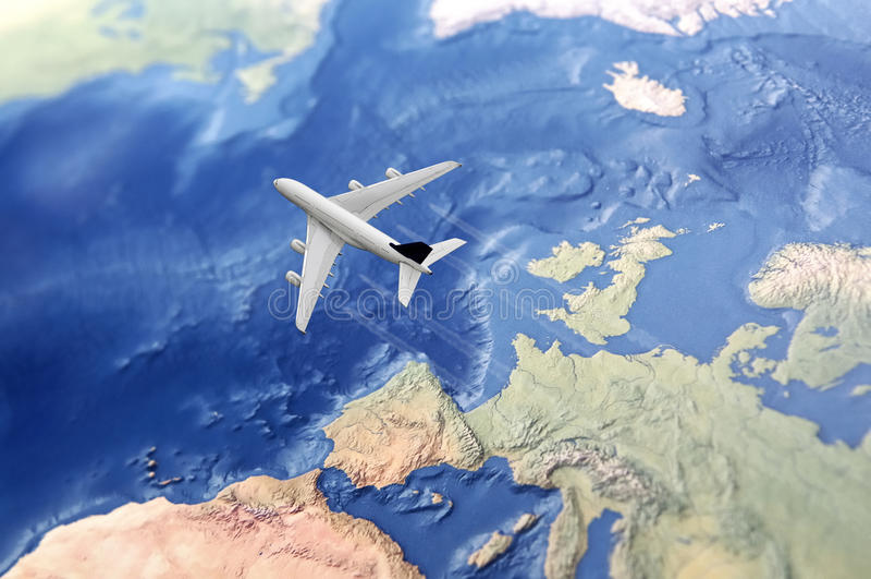 White Civil Airplane over the Atlantic stock image