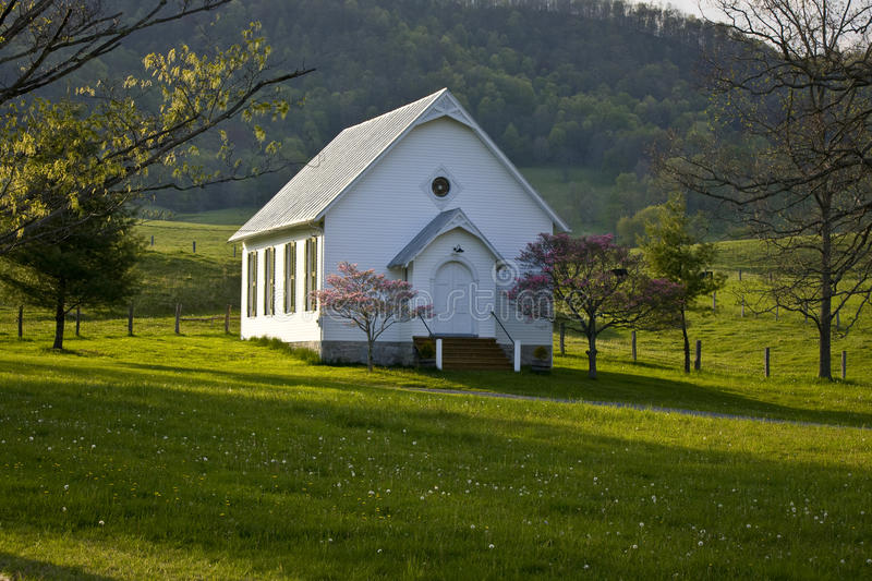 White clapboard church in Virginia mountains. stock image