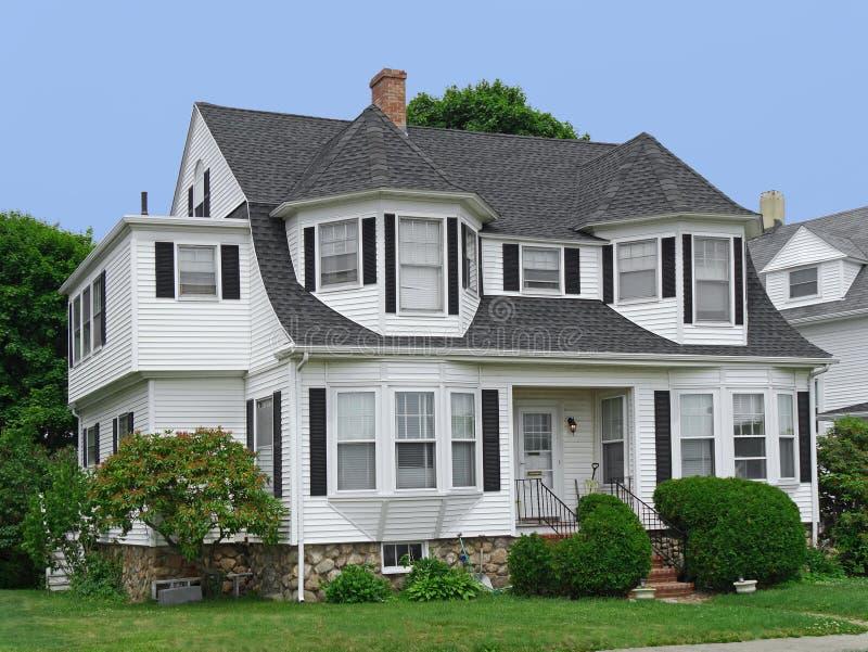 White clapboard house. New England white clapboard house royalty free stock photo