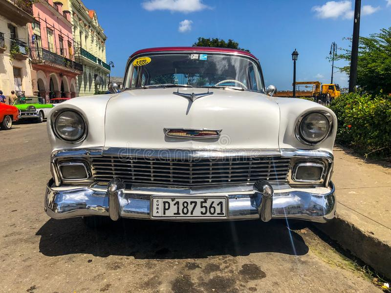 White classic Cuban vintage car. American classic car on the road in Havana, Cuba. stock photo