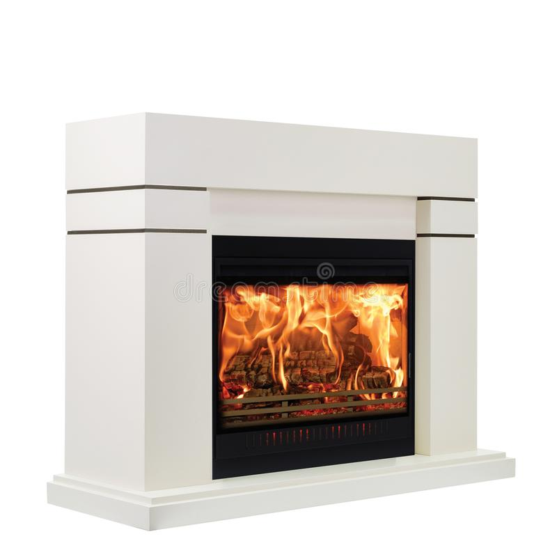 White classic fireplace isolated on white background.  royalty free stock photography