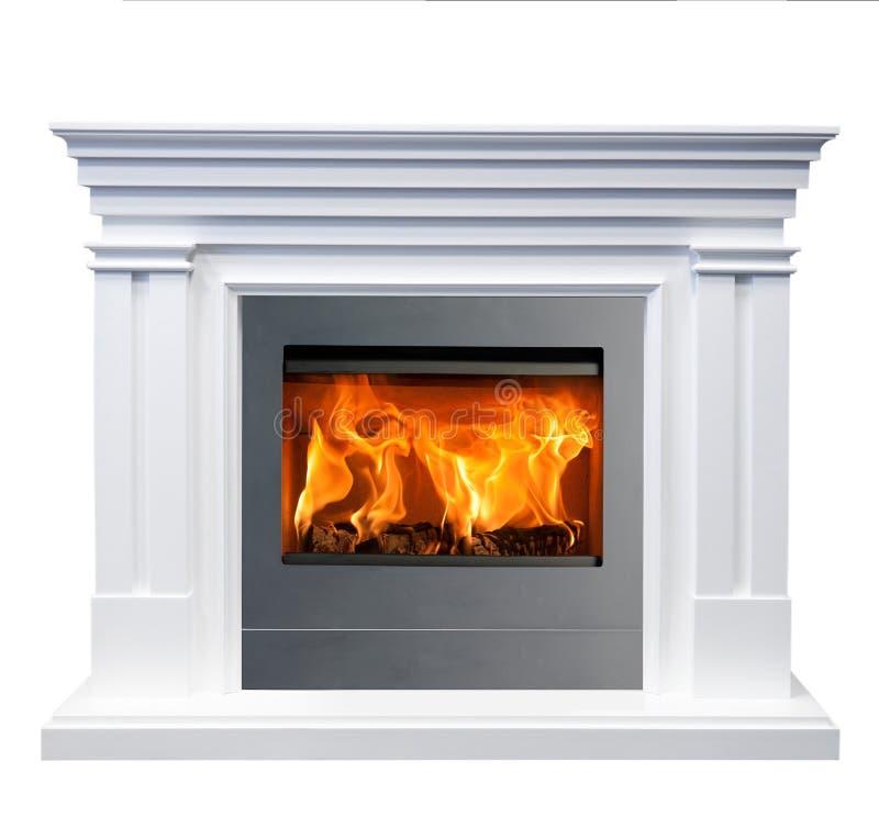 White classic fireplace isolated on white background.  royalty free stock image