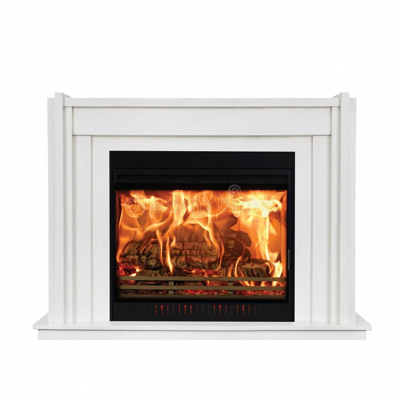 White classic fireplace isolated on white background.  stock photos
