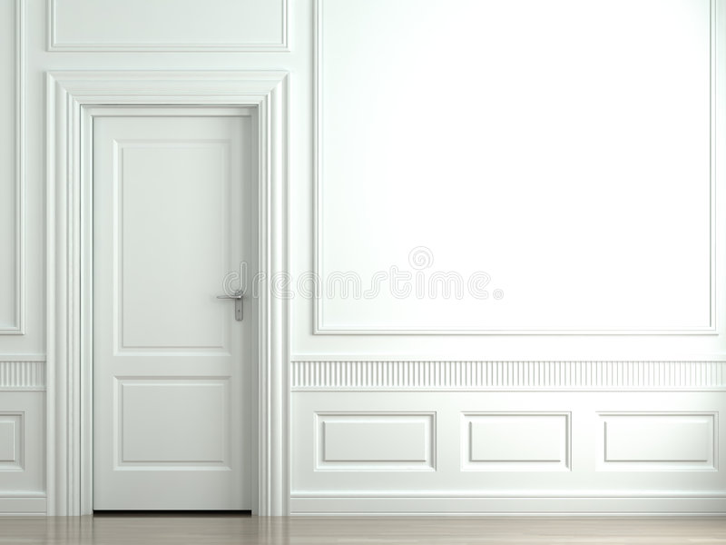 White classic wall with door royalty free illustration