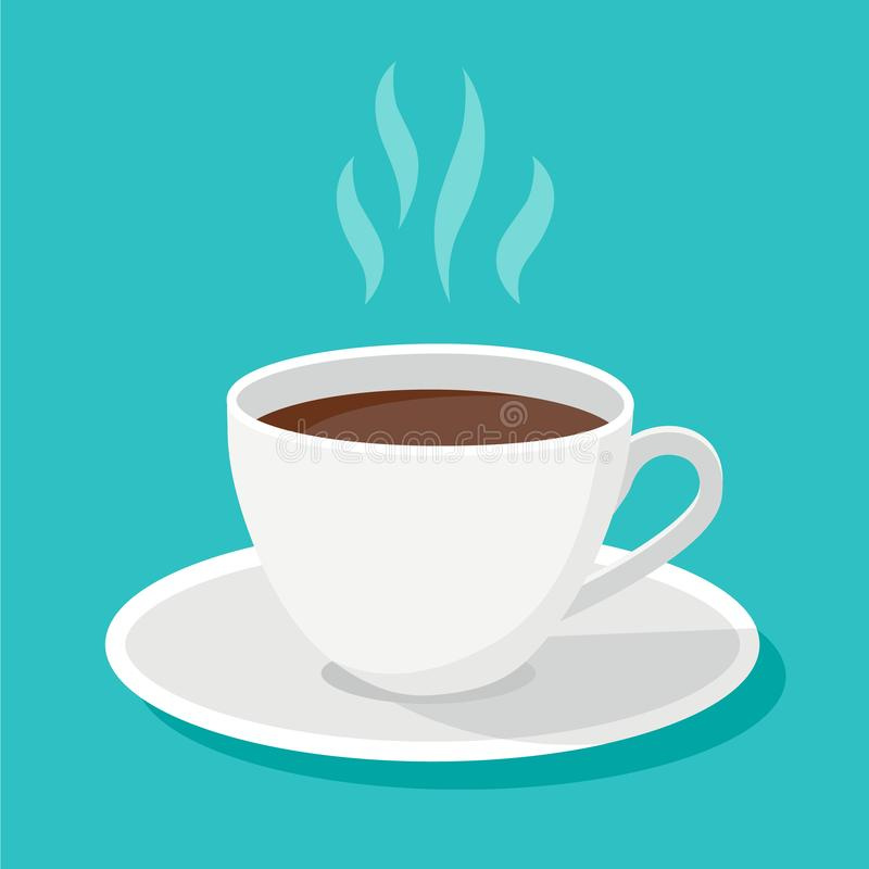 White classical black coffee cup with steam and shadows isolated on blue background. Vector flat design object. vector illustration