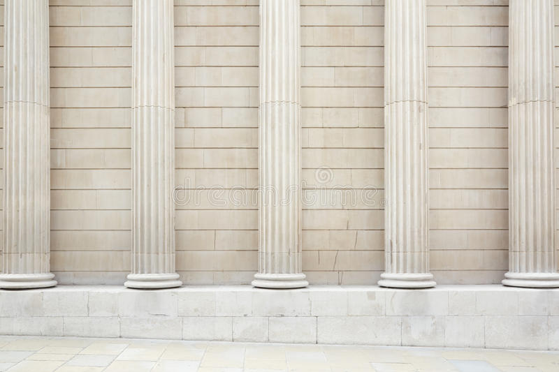 Marble Column Wall : White classical columns and wall background stock image