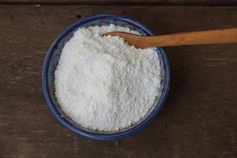 White clay called kaolin for the preparation of natural products. Organic ingredients for the preparation of natural cosmetics royalty free stock images