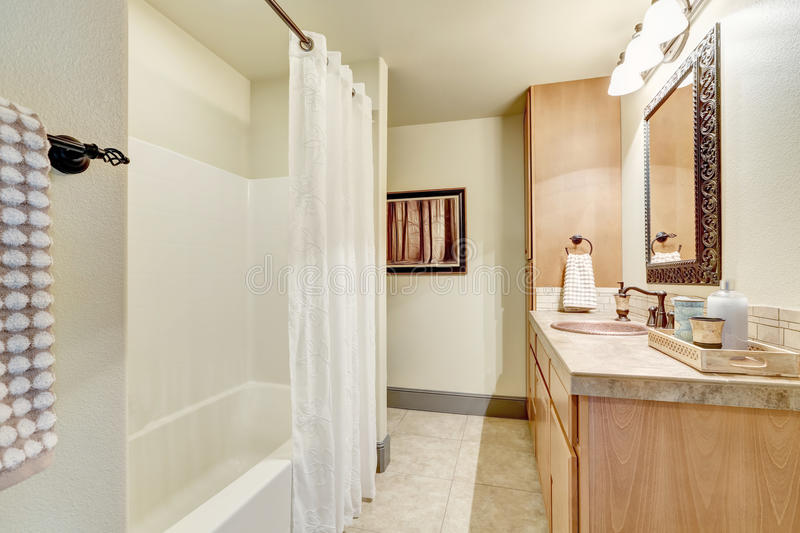 White clean bathroom interior with modern maple cabinets royalty free stock images