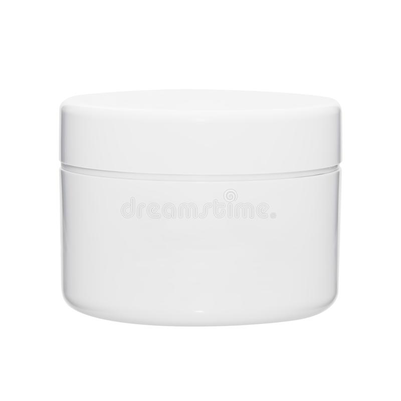 White clean closed flat jar from under cosmetic cream royalty free stock images
