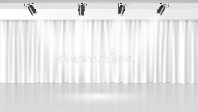 White Clean Curtain Background For Your Design vector illustration