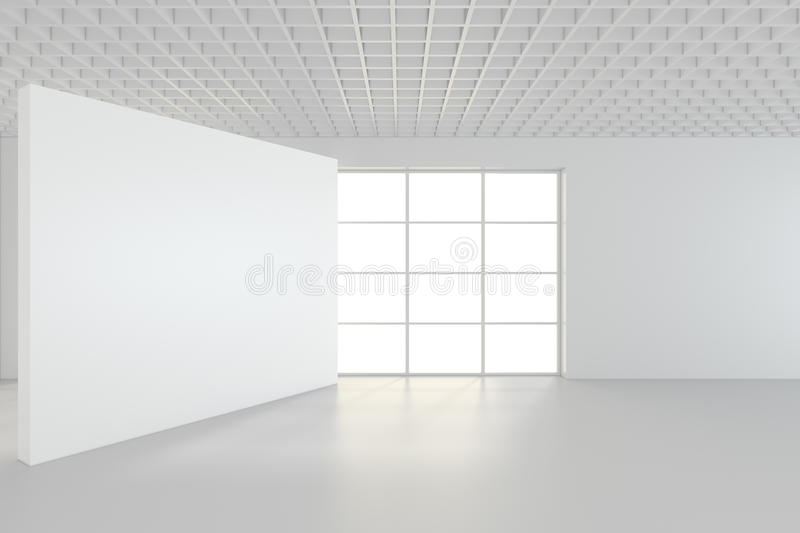 White clean interior with blank white poster. 3d rendering stock photography