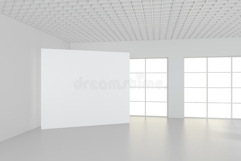 White clean interior with blank white poster. 3d rendering stock images