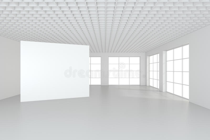 White clean interior with blank white poster. 3d rendering royalty free stock photography