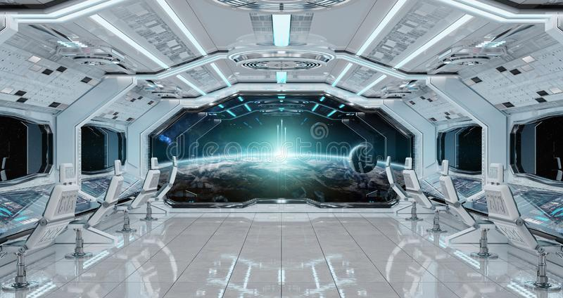 White clean spaceship interior with view on planet Earth 3D rend vector illustration