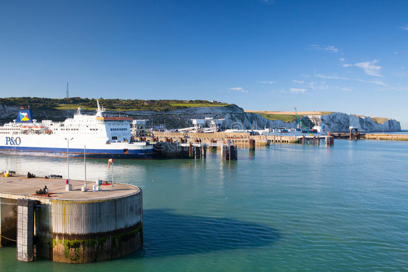White cliffs and Dover harbor stock photo