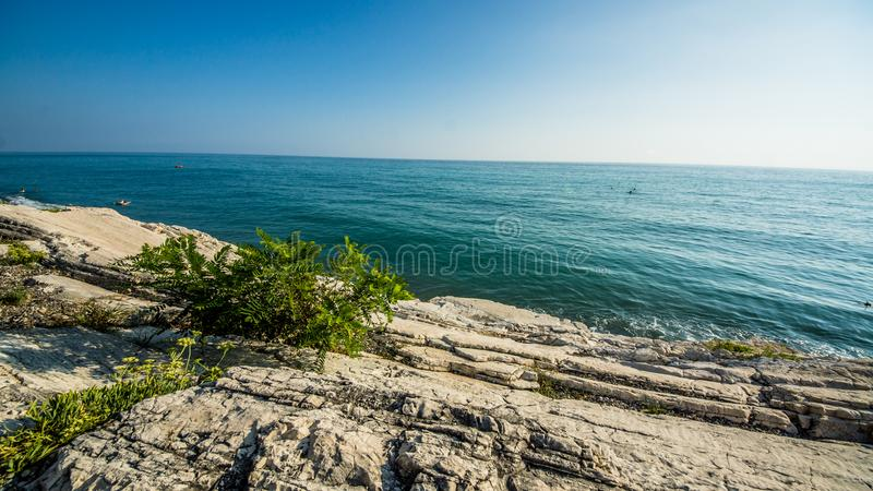 White cliffs on the sea stock photography