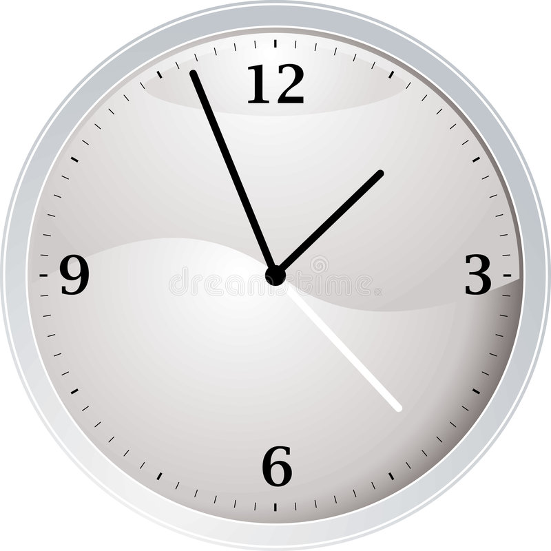 White clock. White and silver time piece ideal as a teaching aid stock illustration