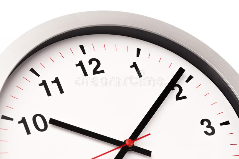 White clock, close up view royalty free stock photography