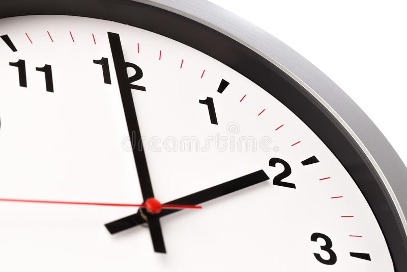 White clock, close up view stock photo