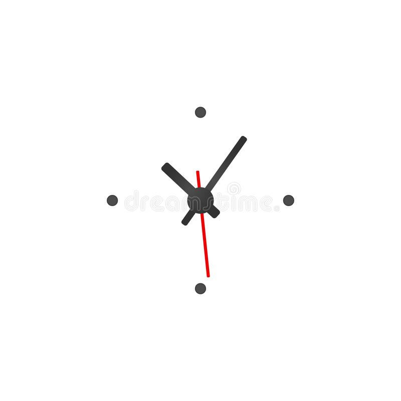 White Clock Design isolated on white background. Ready for your design. Clock Icon. Time is Ticking Concept. Vector illustration. White Clock Design isolated on vector illustration