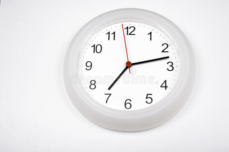 Download White Clock With White Background Stock Photo - Image: 26166576