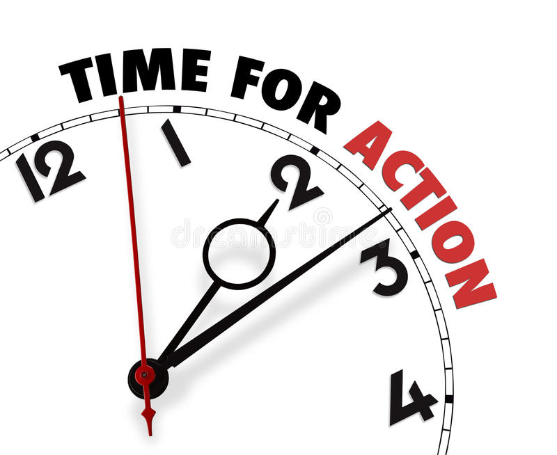 White clock with words Time for Action on its face stock photos