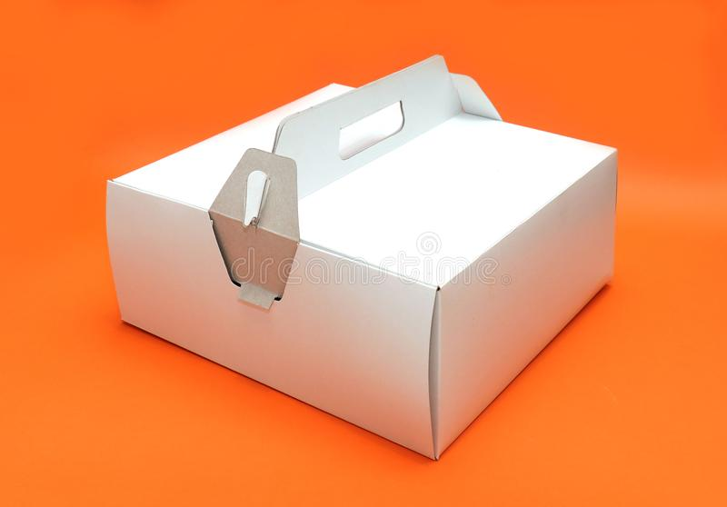 Closed cardboard cake box royalty free stock photo