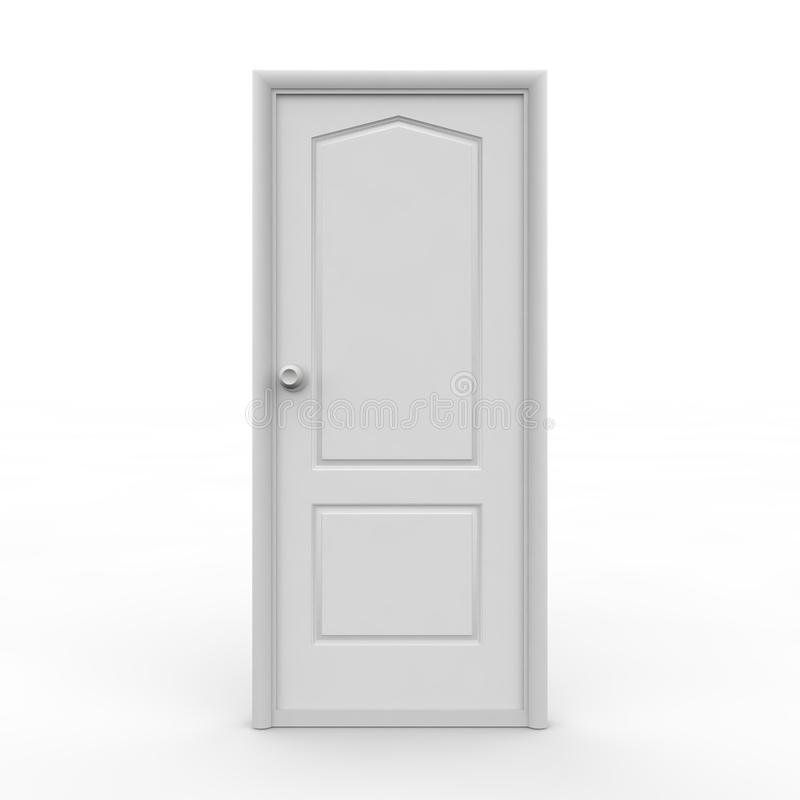 White closed door. White closed the door on an isolated background vector illustration