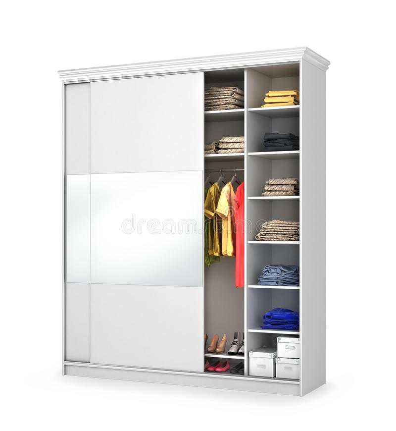 White closet with a large mirror. vector illustration
