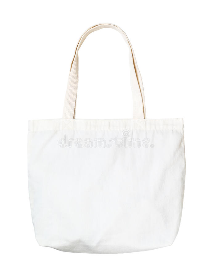 White Cloth bag. With clipping path on isolate white background royalty free stock photos