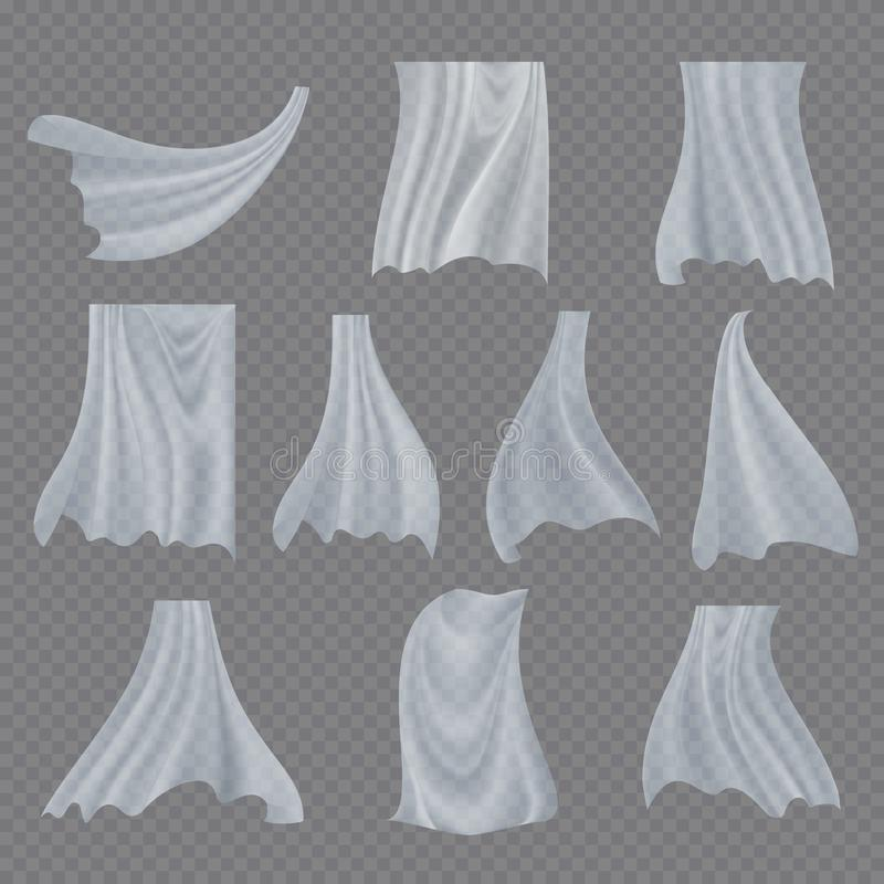 White Cloth Set Vector. Billowing Clear Curly Curtain Transparent White Cloth. Fluttering Curved Fabric Silk. Window. Home Decoration. Realistic Material royalty free illustration