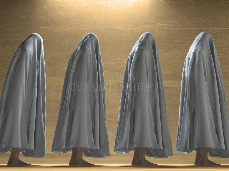 White clothed figures. This image created in entirety by me and is entirely owned by me and is entirely legal for me to sell and distribute royalty free stock images