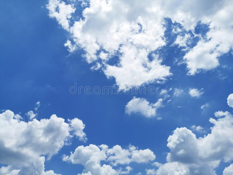 White cloud and beautiful blue sky - Air clouds in the blue sky. - Blue backdrop in the air stock photos