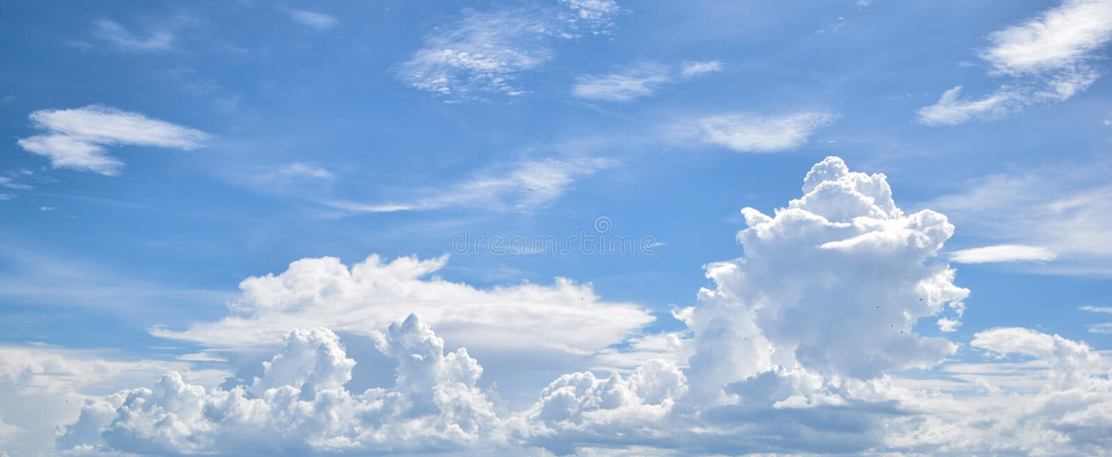 White cloud in the blue sky. Air, atmosphere, background, beautiful, beauty, bright, clear, climate, clouds, cloudscape, cloudy, color, cumulus, day stock images