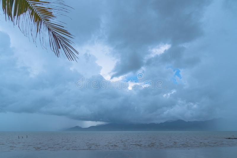 White cloud in blue sky at black beach. White cloud in blue sky  at  black beach view point Trat Thailand royalty free stock images