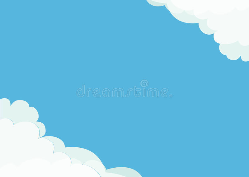 White cloud in corners frame template. Fluffy cloudshape. Cloudy weather. Flat design. Blue sky background. Isolated royalty free illustration