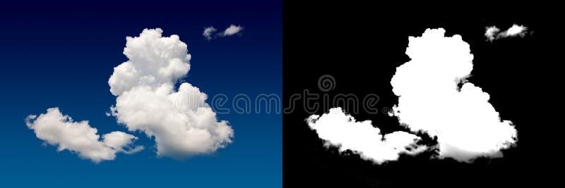 White cloud cut-out mask. Closeup blue sky stock photo