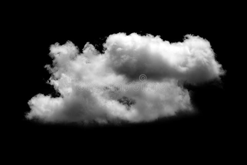 White cloud isolated black background stock photo