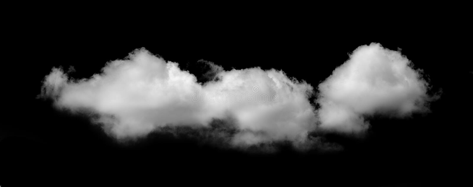 White cloud isolated black background sky.  stock photography