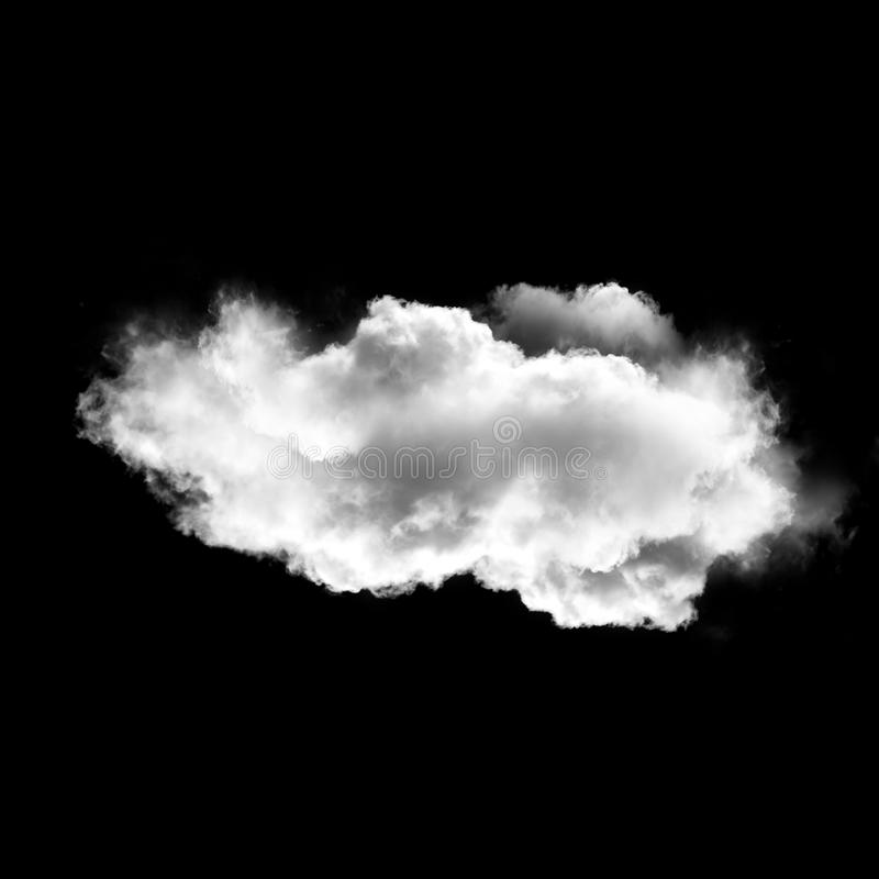 White cloud isolated over black background, 3D illustration stock images