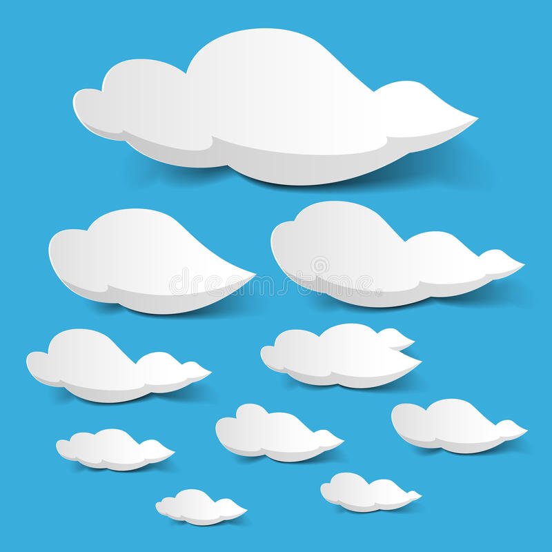 White clouds. Vector illustration of white clouds on blue sky