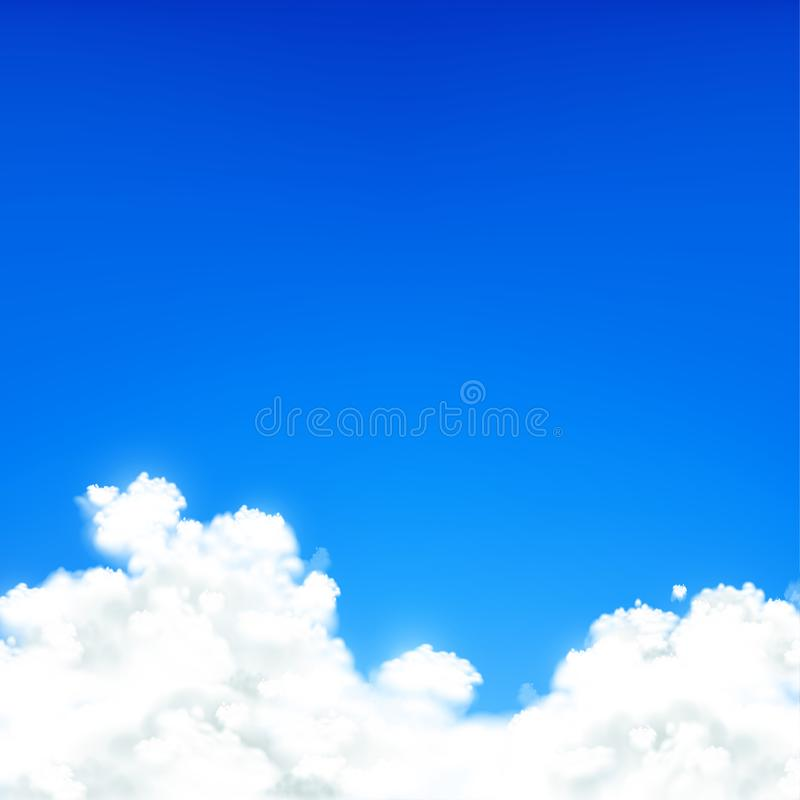 White clouds against blue sky. Natural background. vector illustration