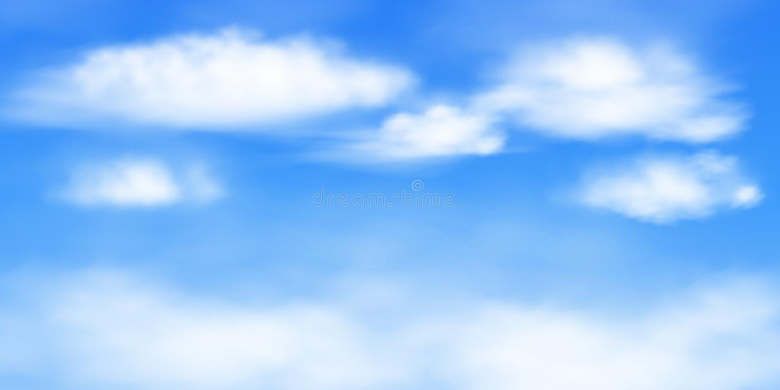 White clouds on a blue background. Image of blue sky with white clouds. Vector background with a 2: 1 aspect ratio. Created using a gradient mesh. EPS 10 vector illustration