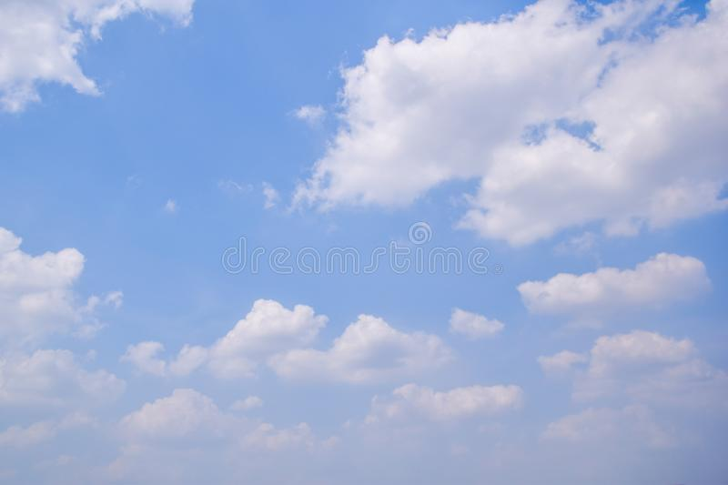 White Clouds in the blue sky in the afternoon at Thailand - Beautiful nature background royalty free stock image